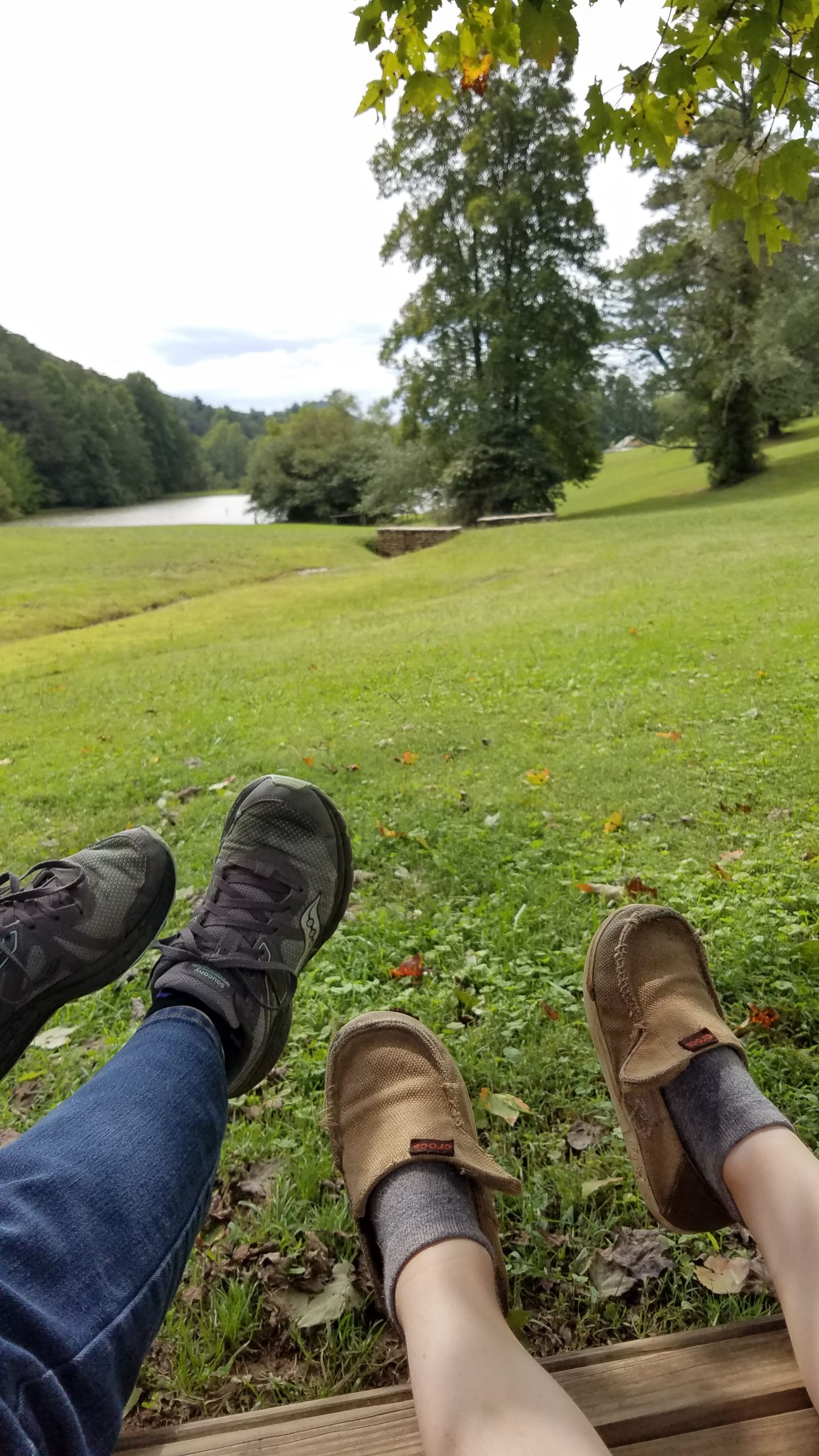two pairs of shoes against a green scenic background